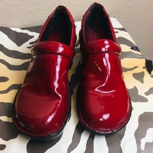 Born Red patent leather leather slip on clogs